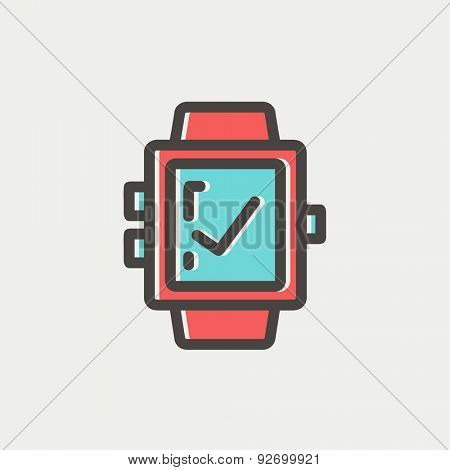 Smartwatch with check sign icon thin line for web and mobile, modern minimalistic flat design. Vector icon with dark grey outline and offset colour on light grey background.