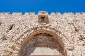 picture of gate  - Upper part of Zion Gate one of the seven gates of the old city of Jerusalem - JPG