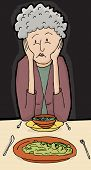 picture of sulky  - Cartoon senior female with sad face at dinner with friend - JPG