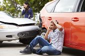 picture of driver  - Male Driver Making Phone Call After Traffic Accident - JPG