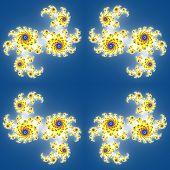 foto of mandelbrot  - Fractal floral pattern texture on blue background - JPG