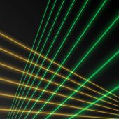 foto of laser beam  - Laser beam green and yellow color on black background - JPG