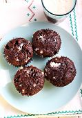 picture of chocolate muffin  - Rocky road muffins - JPG