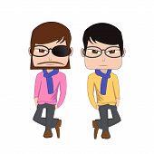 image of coat tie  - Hipster man vs korean man style wear glasses - JPG