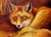 stock photo of monochromatic  - Monochromatic fox painting in ochre and brown - JPG