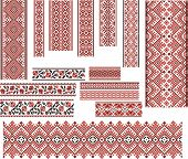 foto of stitches  - Set of Ukrainian ethnic patterns for embroidery stitch in red and black - JPG