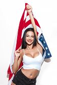 picture of independent woman  - Sexy brunette woman with usa flag star spangled banner independence day 4th july - JPG