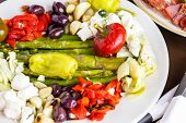 pic of antipasto  - Appetizers plate with vegetarian antipasto in Italian restaurant - JPG