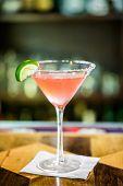 picture of cosmopolitan  - Pink cosmopolitan cocktail prepared at the bar - JPG