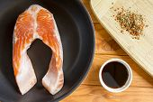 pic of soy sauce  - Trout fillet in a pan with spices and soy sauce - JPG