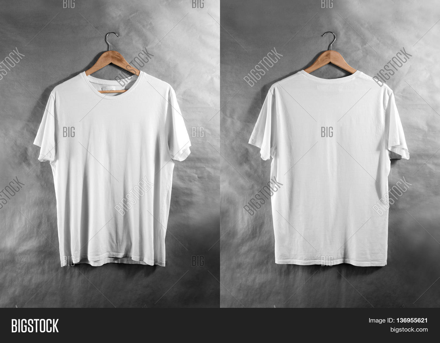 T shirt white mockup - Blank White T Shirt Front And Back Side View On Hanger Design Mockup Clear Plain Cotton Tshirt