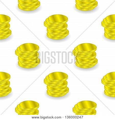 Yellow Coins Seamless Background. Cold Money Pattern