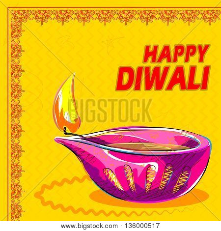 Vector design of colorful painted diya for Happy Diwali decoration