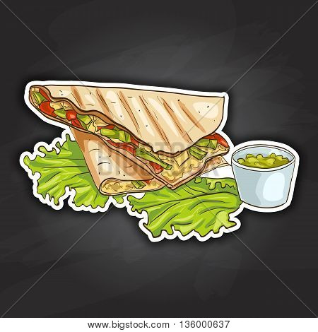 Quesadilla color picture sticker. Mexican traditional food background with quesadilla. Hand drawn sketch vector illustration. Vintage Mexico cuisine banner