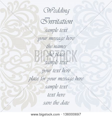 Wedding Invitation card with lace ornament. Serenity and silver color. Vector