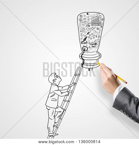 Close up of businessman hand drawing business strategy sketches on white