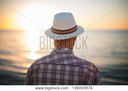 man thinking backlight sunset travel concept beach