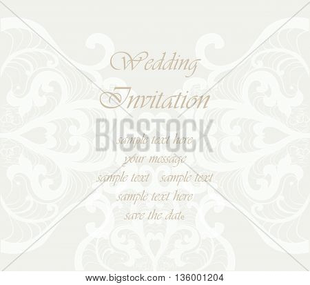 Wedding Invitation card with lace ornament. Beige color. Vector
