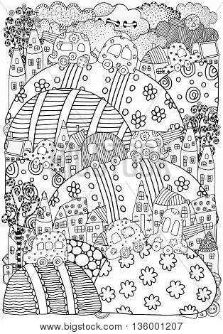 Pattern for coloring book with artistically houses and cars. Magic City, fields, landscape. Made by trace from sketch. Ink pen. Zentangle. Black and white pattern in vector.