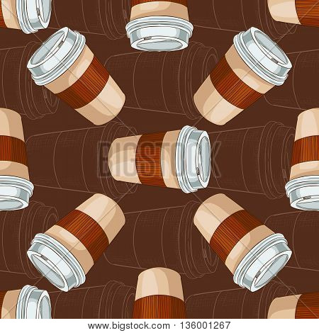 Seamless pattern coffee to go on dark background. Take away coffee cup. Vector illustration