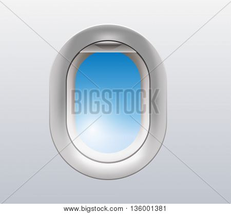 vector illustration of a window from inside the airplane