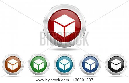 box round glossy icon set, colored circle metallic design internet buttons