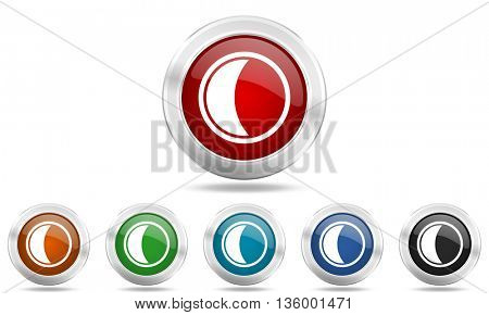 moon round glossy icon set, colored circle metallic design internet buttons