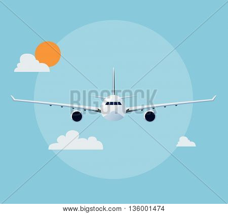 Flat airplane illustration, view of a plane front side