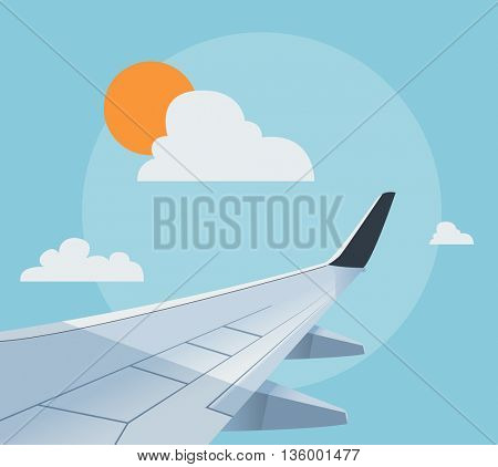 Flat airplane illustration, view of the wing from an airplane window