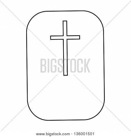 Cross, symbol of the Christian faith icon in outline style isolated on white background