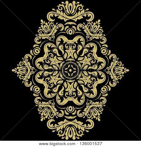 Oriental vector pattern with arabesques and floral elements. Traditional classic ornament. Black and golden pattern