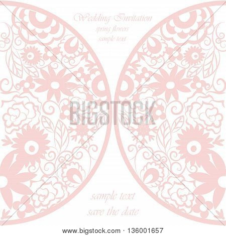 Vector round invitation card ornamental lace crochet with floral elements. Elegant lacy feather decoration greeting card wedding invitation or announcement template. Rose pink. Springtime theme