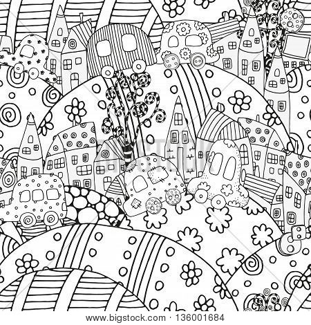 Seamless pattern with artistically houses and cars. Magic City, fields, landscape. Pattern for coloring book. Made by trace from sketch. Ink pen. Zentangle. Black and white pattern in vector.