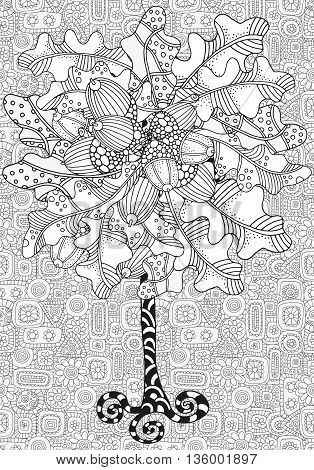 Artistic tree with hand drawn acorns and oak leaves. Hand drawn doodle tribal. Made by trace from sketch. Ink pen. Black and white background. Zentangle patterns.