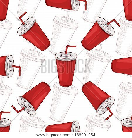 Seamless pattern cola cup scetch and color. Vector illustration, EPS 10