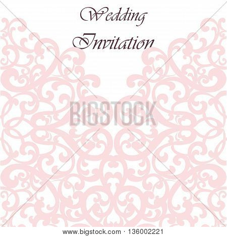 Wedding Invitation card with lace ornament. Rose quartz color. Vector