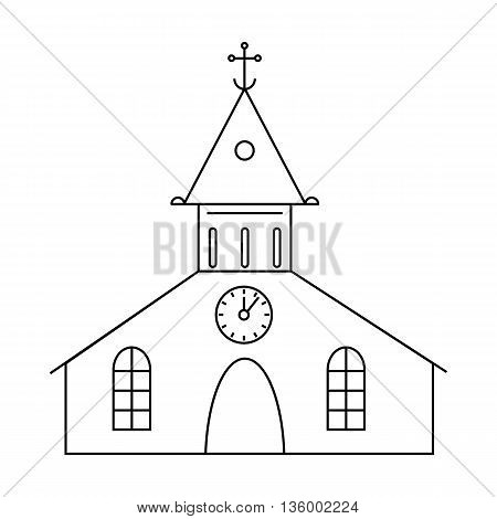 Catholic church icon in outline style isolated on white background