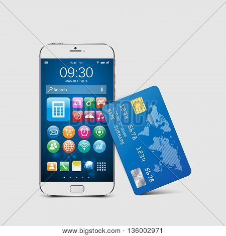 Mobile payment concept. Modern mobile smartphone with credit card.vector