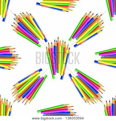 Colorful Pencils Isolated on White Background. Colored Pencils Seamless Pattern
