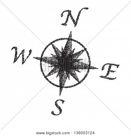 A compass dial in black and white with stipple FX