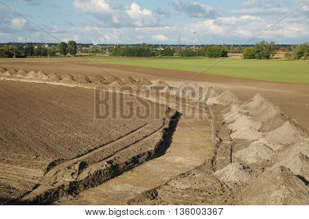 Construction site with tranch digging