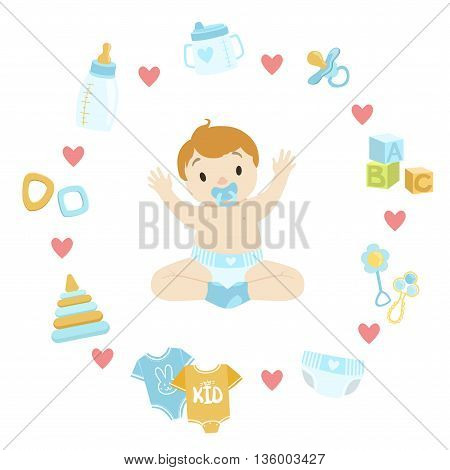 Baby Boy Surrounded With Object It Needs Flat Childish Cartoon Style Bright Color Vector Illustration On White Background
