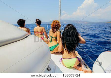 Group Of Women Yachting Sea