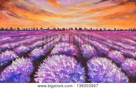 Colorful france lavender field at sunset hand made oil painting on canvas. Impressionist art.