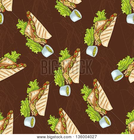 Colorful Mexican food seamless pattern on dark background. Color quesadilla scetch and color background.