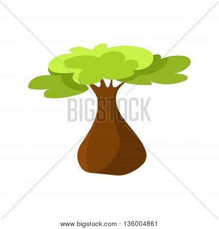 Bottle Tree Drawing Cute Childish Style Bright Color Design Icon Isolated On White Background