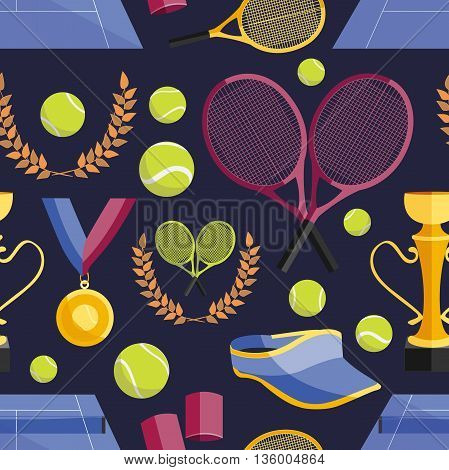 Colorful vector illustration of various stylized tennis set pattern