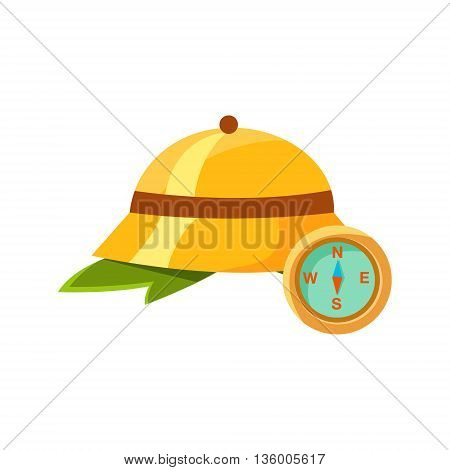 Jungle Cork Helmet Ans Compass Cute Childish Style Bright Color Design Icon Isolated On White Background