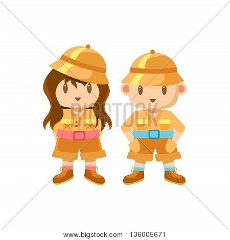 Boy And Girl Dressed As Jungle Explorers Cute Childish Style Bright Color Design Icon Isolated On White Background