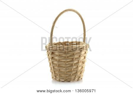 wicker basket made of wicker on a white background